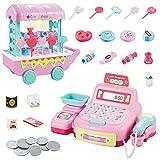 Caja registradora de juguete, caja registradora de supermercado con pantalla LED, escáneres de códigos de barras para escanear juguetes de comestibles, juego de juguetes para jugar a la casa con sonid