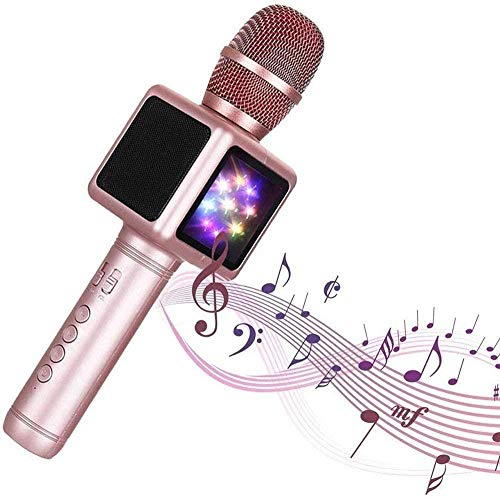 YAYY draadloze karaoke-microfoon audio One Home TV allround condensator Live-apparaat set met kleurrijke LED-lampen compatibel met Android- en iOS-apparaten (upgrade)