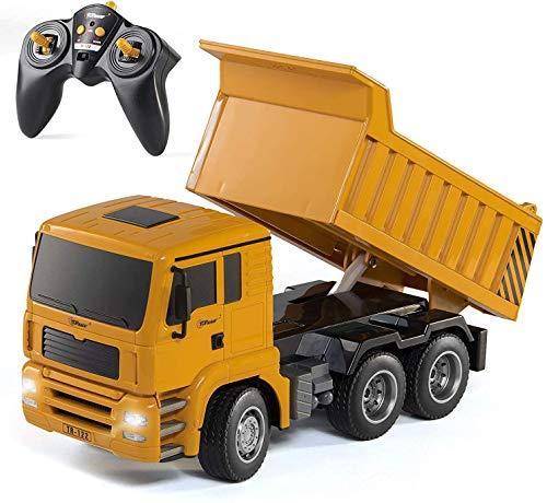 Moerc Control remoto de seis canales volcado de control remoto volcado 6 canales totalmente funcional camiones de construcción juguetes para niños niños años 3,45,6,7 con luces y escala de sonido 1:18