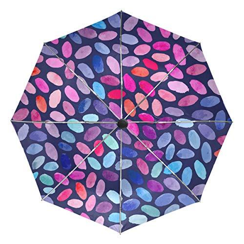 XiangHeFu Regenschirm Buntes Blatt Gekritzel Auto Öffnen Schließen 3 Falten Leichtes Anti-UV