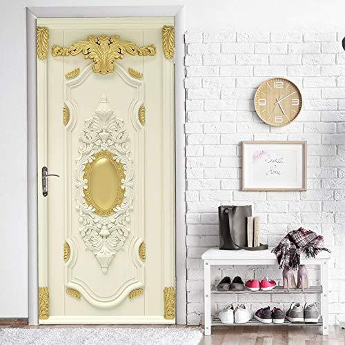 Pegatinas de puerta Pegatinas de puerta tridimensionales 3D retro barrocas Pegatinas de pared decorativas personalizadas para el hogar Pegatinas de pintura autoadhesivas