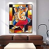 KWzEQ Big Buddha Indian Art Collection Set Ganesha Poster Living Room Art Mural Decoración del hogar,Pintura sin Marco,30x37cm