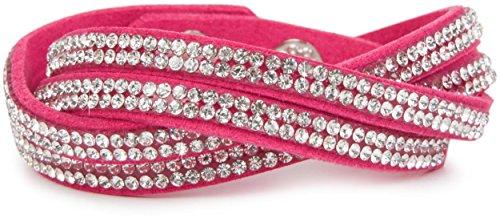 styleBREAKER weiches Strass Armband, eleganter Armschmuck mit Strassteinen, Wickelarmband, 2x2-Reihig, Damen 05040004, Farbe:Pink/Klar