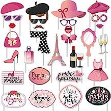 30 pcs Paris Photo Props Paris Party Photo Booth Props Kit Paris Themed Decoration French Photo Booth Props, Eiffel Tower,...