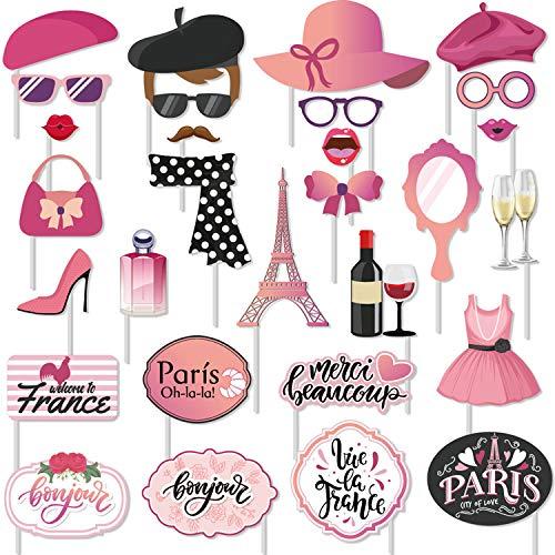 30 pcs Paris Photo Props Paris Party Photo Booth Props Kit Paris Themed Decoration French Photo Booth Props, Eiffel Tower, for oh la la Baby Shower Birthday Paris Theme Party Supplies