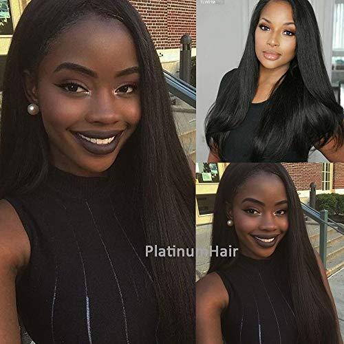 Platinumhair longs cheveux raides Perruques synthétiques Lace Front Perruque résistant à la chaleur pour Mode Femme 45,7 cm