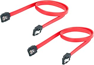 Jctek SATA III (SATA 3) Cable, Hard-Disk Cable Red (40cm) with Locking Latch (Pack of 2)