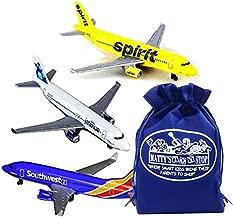 Daron Southwest, JetBlue & Spirit Airlines Die-cast Planes Gift Set Bundle with Bonus Matty's Toy Stop Storage Bag - 3 Pack