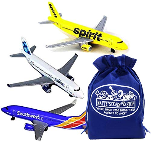 Daron Southwest, JetBlue & Spirit Airlines Die-cast Planes Gift Set Bundle with Bonus...