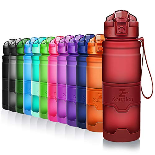 ZOUNICH Trinkflasche Sport BPA frei Kunststoff Sporttrinkflaschen für Kinder Schule, Joggen, Fahrrad, öffnen mit Einer Hand Trinkflaschen Filter, Dunkelrot, 25oz/700ml