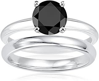Vogati 2.00 Cts Black Diamond Engagement and Plain Wedding (3mm comfort fit) Ring Set in Sterling Silver-3.0