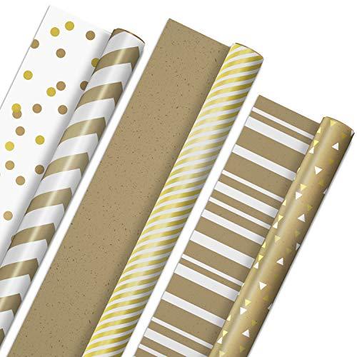 Hallmark All Occasion Reversible Wrapping Paper - Gold & Kraft Stripes, Triangles, Chevron, Polka Dots (3 Rolls: 75 sq. ft. ttl) for Birthdays, Christmas, Hanukkah, Crafts