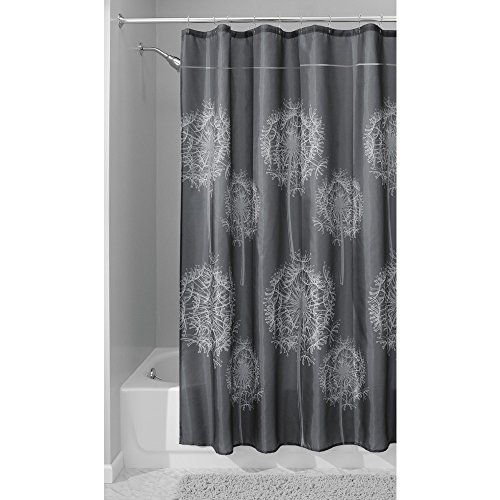 Price comparison product image InterDesign Dandelion Fabric Shower Curtain,  Polyester Shower Screen with Dandelion Pattern Design,  Charcoal
