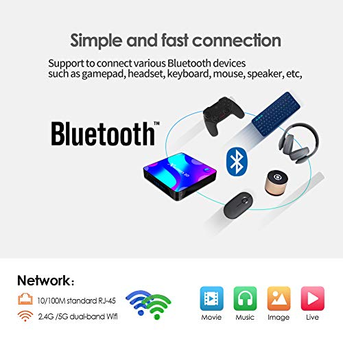 Android 10.0 TV Box,TUREWELL 4GB RAM 32GB ROM RK3318 Quad-Core 64bit Cortex-A53 Support 2.4/5.0GHz dual-band Wifi BT4.0 3D 4K 1080P H.265 10/100M Ethernet HDMI2.0 Smart TV BOX