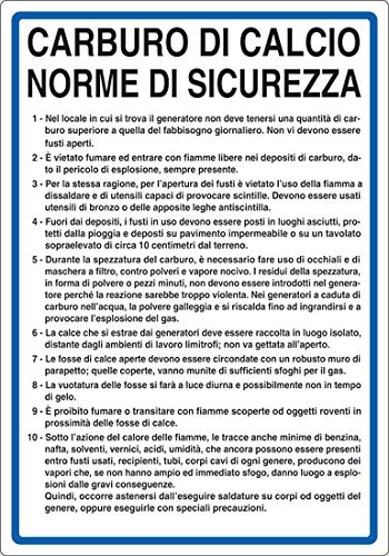 PIXLEMON Cartello Alluminio cm 50x35 CARBURO di Calcio Norme di Sicurezza