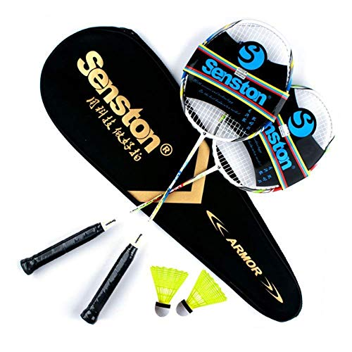 Senston 2 Pieces Carbon Alloy Badminton Set, lightweight 100% Graphite...