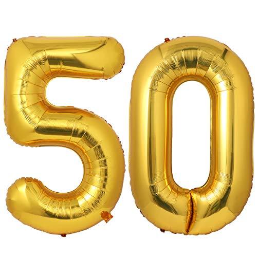 NUOLUX Nummer Luftballons,52 Zoll Nummer 50 Gold Luftballons für Geburtstagsfeier