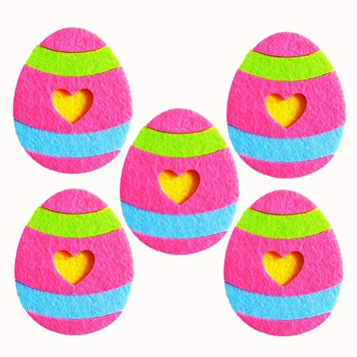 Amosfun Ornements colorés de Tissu de décoration d'oeufs Non-tissés de Pâques pour l'enfant Enfant 5Pcs