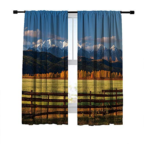 Miblor Blackout Curtains for Bedroom Living Room, Green Field with Fence Against Snow Mountains at Sunrise, Light Blocking Curtains Room Darkening Window Treatments Drapes 52W x 72L Inches (2 Panels)