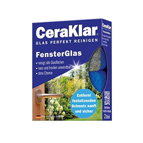abrazo CeraKlar FensterGlas, 2x Glasreiniger-Schwamm, kratzfreier...