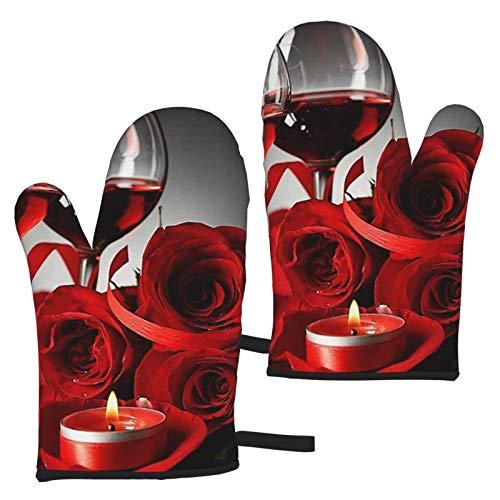 VBHGHFF Manoplas de horno para vino tinto con diseño de rosas y velas, guantes de cocina resistentes al calor (juego de 2 manoplas)