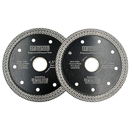 DT-DIATOOL Disco Tronzador Diamante 2 Piezas 115 mm x 22,23 mm/20 mm Hoja de Sierra con Malla Turbo para Corte de Porcelanico Azulejos Mármol Granito Cerámica