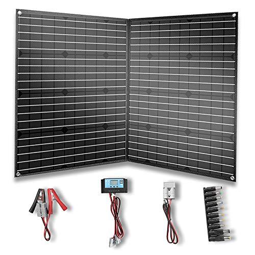 YUANFENGPOWER 100 Watt 12 V Faltbar Solarpanel Tragbare Solar Ladegerät kit mit 10A Solarladeregler für Wohnmobil, Wohnwagen, Wandern, Boot, Auto, Outdoor Batterieladung Schwarz (100)