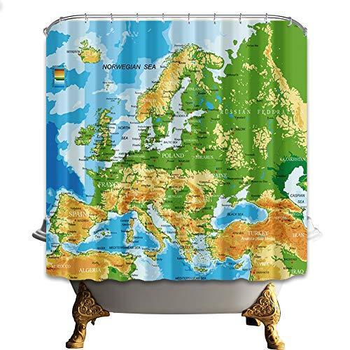 mintlmk Kaart van West-Europa 71X71 inch Polyester stof douchegordijn Set Fantastische Decoraties Badgordijn