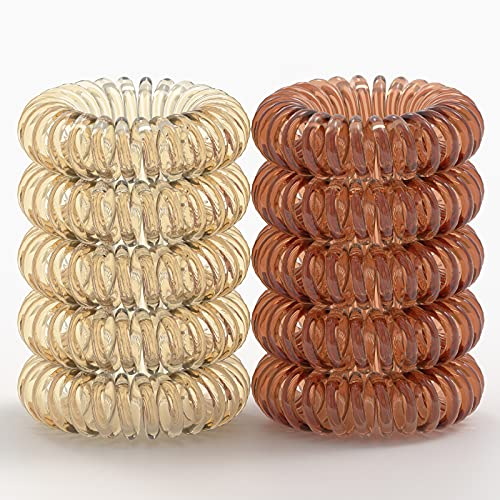 Coil Hair Ties (10 Pcs), AiMiAO Spiral Hair Ties No Crease, Elastic Hair Coils for Thick Hair Ponytail Holder, Phone Cord Hair Ties for Women Kids Baby Girls, Hair Coil for All Hair Types,Brown&Grey