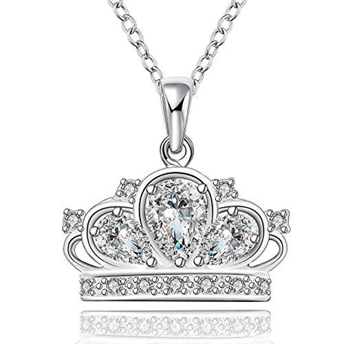 IzuBizu London Womens Cubic Zirconia Silver Crown White Diamond Queen Faux Princess Necklace Free Elegant Gift Box