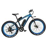 LANKELEISI XF4000 Bicicleta Eléctrica 500W/1000W 7-speed Fat Tire Mountain Bike Adulto Suspensión Completa Freno de Disco Hidráulico, Batería de Litio 16Ah (Azul Negro, 1000W)
