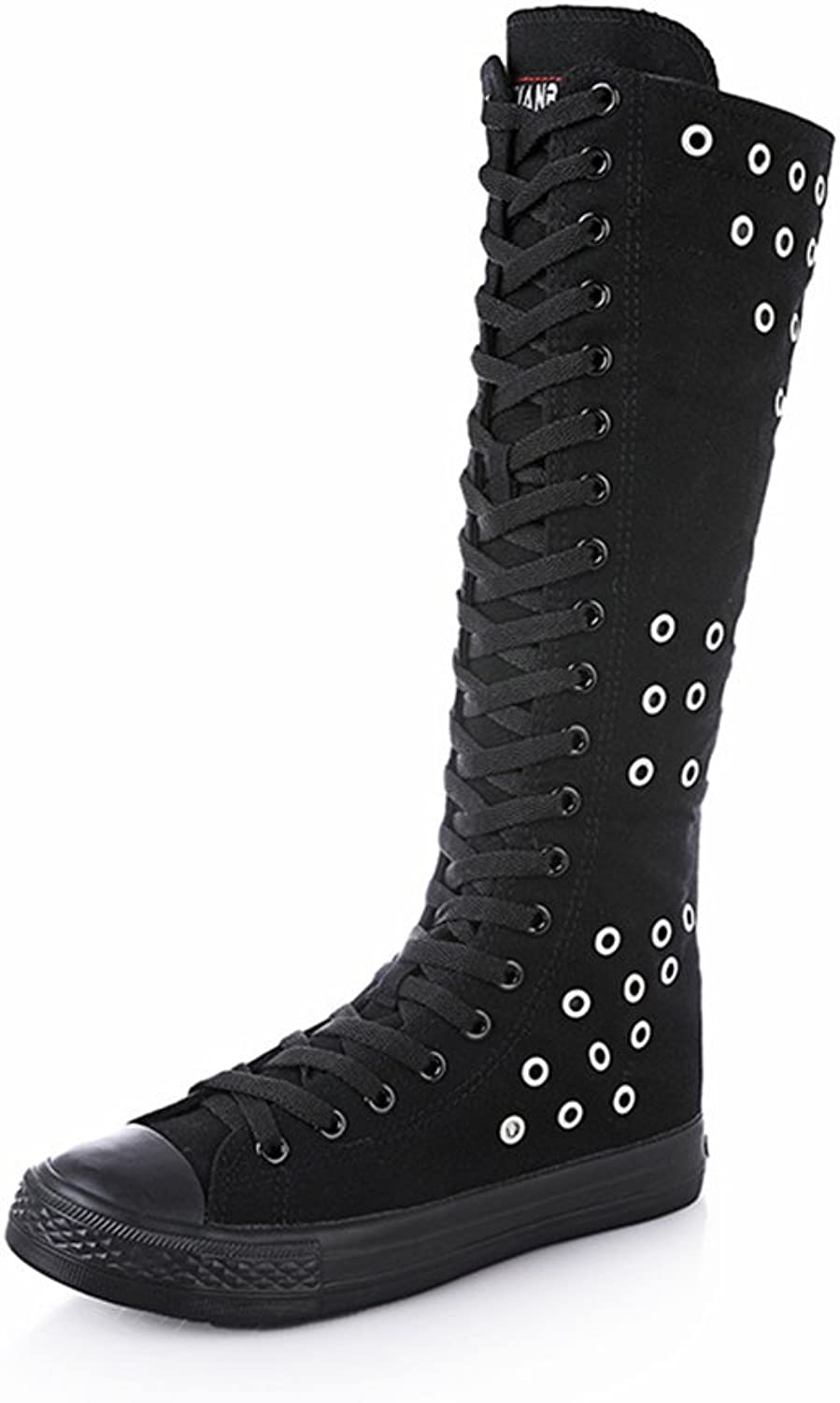 AGoGo Women's Lace Up Tall Punk Dancing Canvas Boots