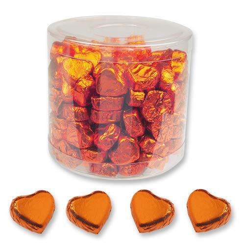 1 Dose mit 150 Schokolade Herzen, orange, Pralinen Herzen, Schoki, Schokoladen
