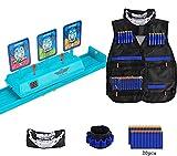 HIYUTOY Kids Tactical Vest Electronic Digital Target for Nerf Gun N-Strike Elite Series -Refill Bullets (Blue)