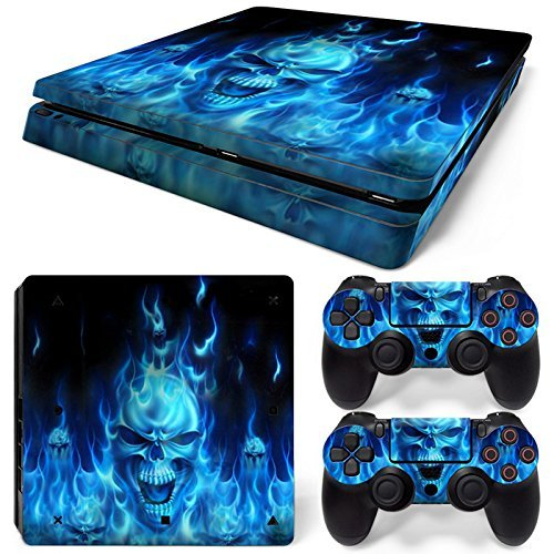 Mcbazel Pattern Series Decals Vinyl Skin Sticker for PS4 Slim (Blue Skull)