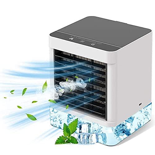 Condizionatore Portatile, Mini Condizionatore d'aria Portatile 3 in 1 Raffreddatori Evaporativi Ventilatore 3 Velocità Regolabili 600 ml Ventilatore Adatto per Ufficio Camera da Letto Cucina