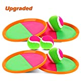 Qrooper Toss and Catch Ball Set Velcro Ball Catch Game Suitable for Kids Outdoor Beach Backyard Game Gift Idea (Orange)