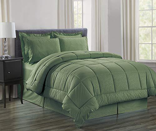 Luxury Bed-in-a-Bag Comforter Set on Amazon! Elegant Comfort Wrinkle Resistant - Silky Soft Beautiful Design Complete Bed-in-a-Bag 8-Piece Comforter Set -HypoAllergenic- Full/Queen, Sage