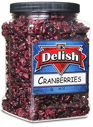 Dried Cranberries by It's Delish, 36 Oz Jumbo Container – Bulk Fresh Cranberry Dried Fruit – Great for Salads, Topping, Cooking, Baking, Snacking and Mixes - Vegan, OU Kosher Certified