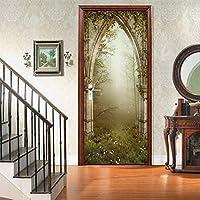 環境に優しい3D森の宮殿のドアステッカーは自己接着寝室の壁のステッカーを改装しました