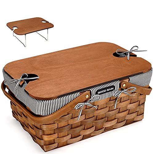 G GOOD GAIN Woodchip Picnic Basket with Portable Wine Table, Natural Woven Basket with Double Folding Handles, Hand Woven Easter Eggs and Candy Basket, Bath and Kids Toy Wicker Storage Basket S Grey