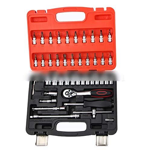 Dingziyue Socket Ratelmoersleutel 46-delig 72-tandige hoogwaardige gereedschapskist Auto Machine Repair Kit Auto Repair Tool Set
