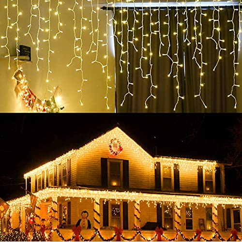 LED baumelnde Eiszapfenleuchten, LONJY 13FT 96 LEDs 8 Modi Twinkle Christmas Plug in Hängende Decke Fairy String Vorhangleuchten für Bar Mall Patio Yard Indoor Outdoor Dekoration (Warmweiß, 4M)