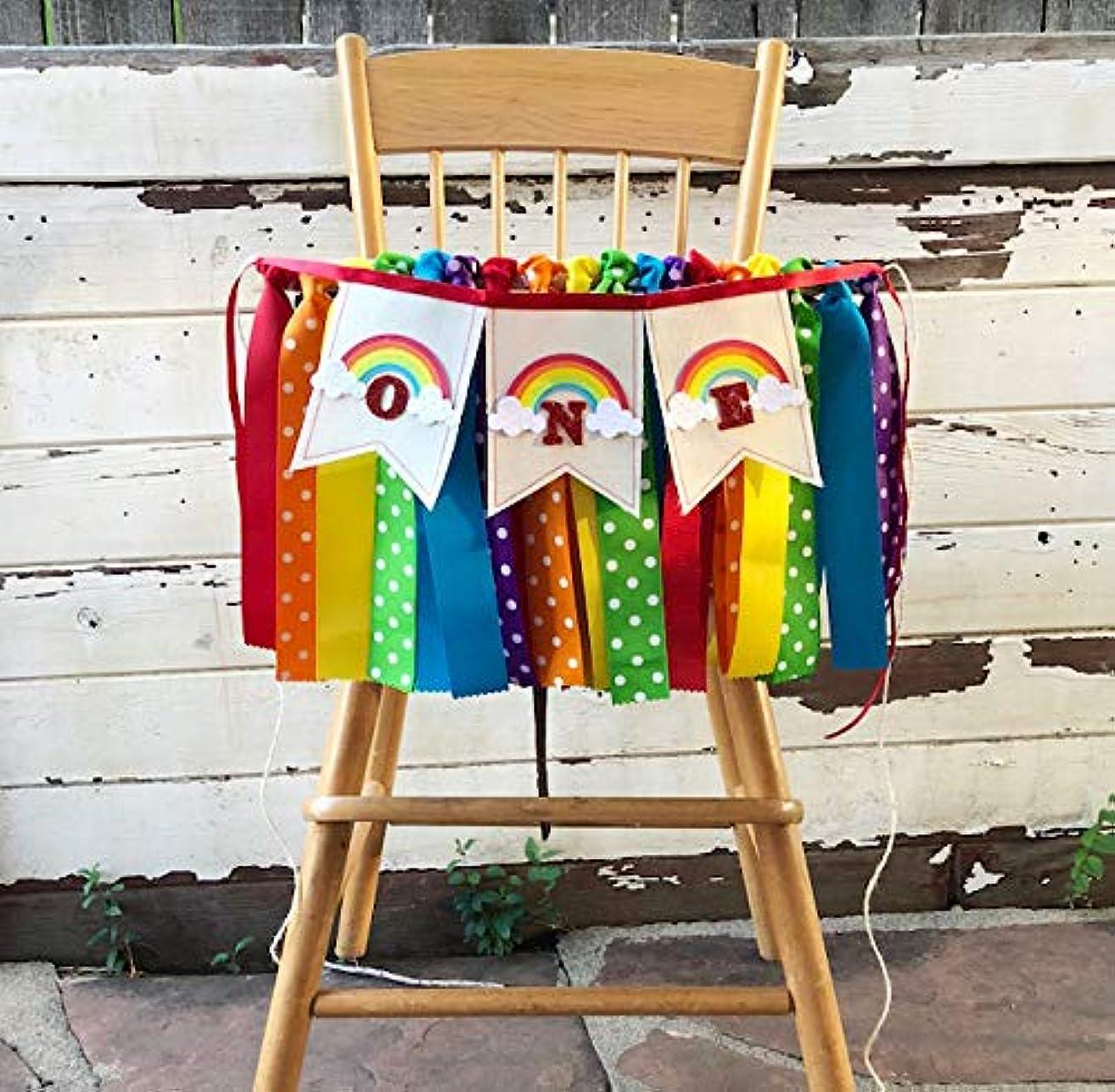 Rainbow ONE Fabric Ribbon High Chair Banner- 1st Birthday Girl
