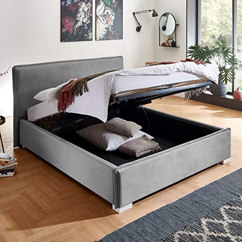Designer Bett mit Bettkasten Sofia Samt-Stoff mit Biese Polsterbett Lattenrost Doppelbett Stauraum Holzfuß weiß (Grau, 140 x 200 cm)