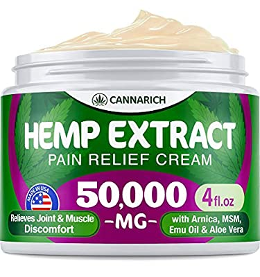 Pain Relief Hemp Cream - 50,000 Hemp Extract - Natural Formula with MSM, Aloe Vera, Emu Oil & Menthol - Made in USA - Perfect for Joint, Muscle, Sciatica & Back Pain - Rich in Omega 3-6-9 from Cannarich