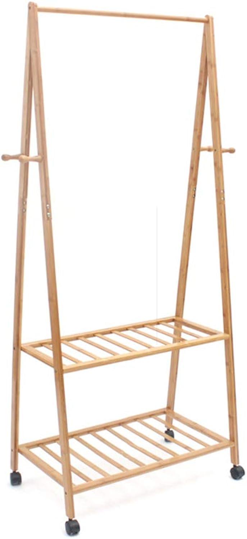 Coat Rack Bedroom Floor Racks Removable Bamboo Hangers Simple Creative Clothes Rack Closet Storage (color   Beige, Size   70  45  163cm)