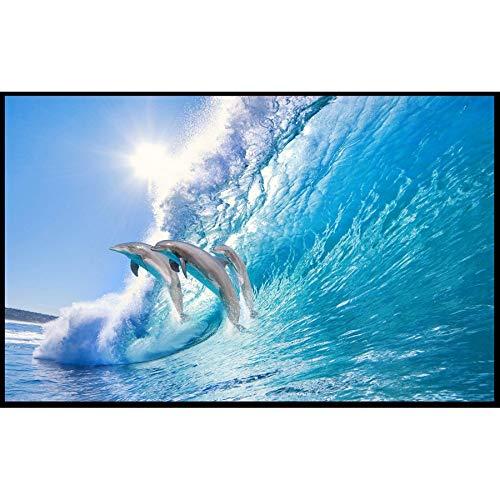 Dolphin Jumping in Wave Sea 3d Wallpapers für Tapeten Wohnkultur Wohnzimmer Fototapeten Wandbilder Rolls Kinderzimmer, 200x140cm