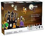 Kreul 42850 - Window Color Set Monster Party, für kleine und große Kreative, 5 x 80 ml Fensterfarben, je 80 ml Konturen- und Nachtleuchtfarbe, 2 Folien, 150 Schmucksteine und Motivvorlagen