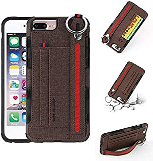 SHUANGRUIYUAN Wrist Band Canvas Cloth Texture Shockproof Protective Case with Card Slots & Holder for iPhone 6S/iPhone 6/iPhone 7/iPhone 8 4.7 inch (Color : Brown)
